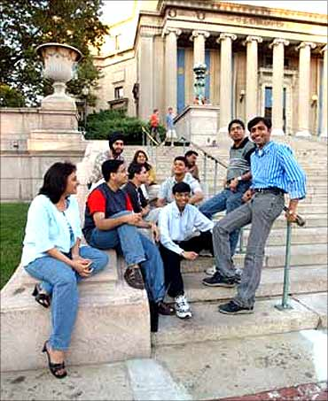 Indian students at an American university campus.