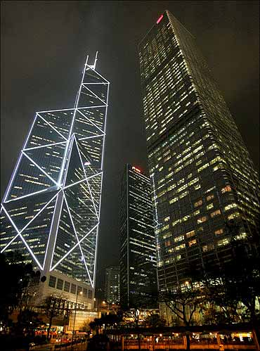 Bank of China tower and Cheung Kong Centre tower in Hong Kong's central district.