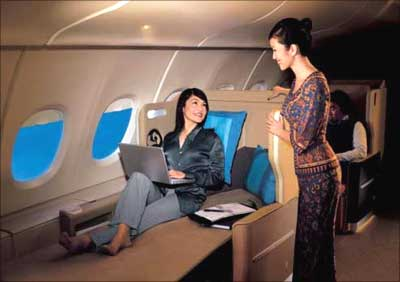 Business Class of Singapore Airlines.