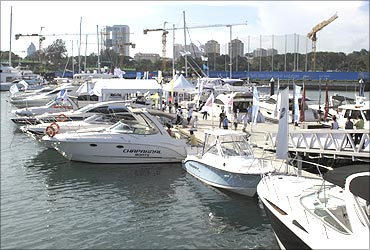 Boats are seen docked during the Boat Asia show in Singapore.