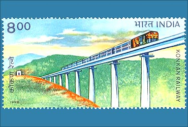 A stamp depicting Konkan Railways.