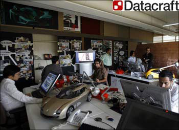 The office on an IT animation firm in Delhi. (Inset) Datacraft India logo.