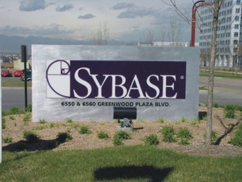 A board off a Sybase campus in Greenwood, US.