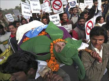 A protest rally against Bt Brinjal.