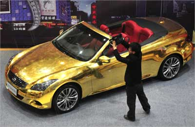 A gold-plated Infiniti G37.