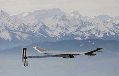 The solar-powered Solar Impulse HB-SIA prototype airplane during its first flight.