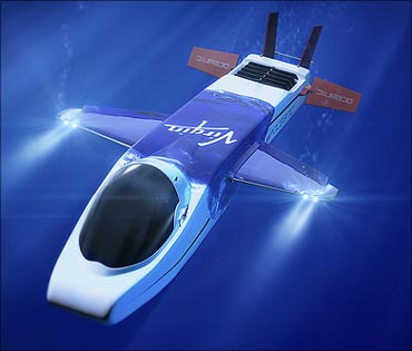 Necker Nymph, the solo-piloted 'flying' mini-submarine in which Richard Branson plans to explore the oceans' depths.