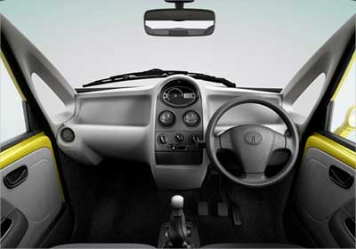 Interior view of Tata Nano.