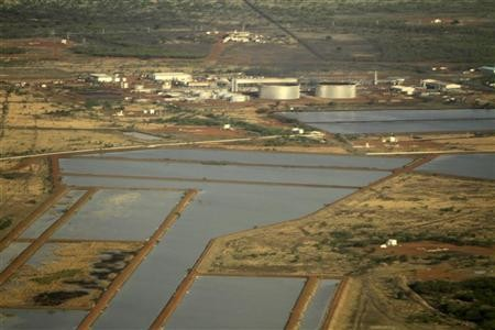 An aerial view of the Heglig oil processing facility in Sudan