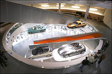Cars on display at the museum.