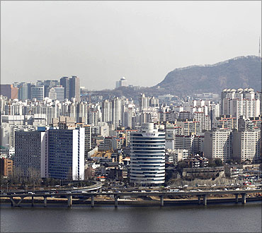 A general view shows part of central Seoul.