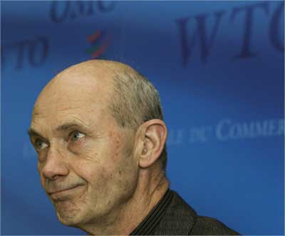WTO Director-General Pascal Lamy looks on during a news conference.