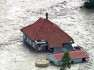 Floods caused massive damage in Australia.