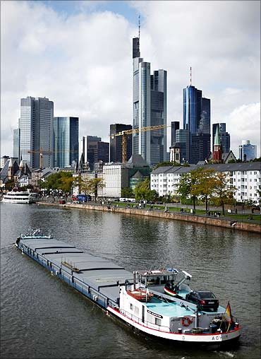 The skyline of Frankfurt with its bank towers.