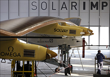 Solar Impulse HB-SIA in the firm's hangar in Payerne on July 1, 2010.