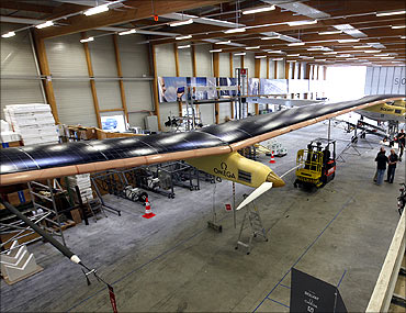 Solar Impulse HB-SIA prototype airplane in the firm's hangar in Payerne on July 1, 2010.