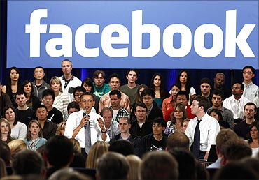 Obama attends a town hall meeting at Facebook.