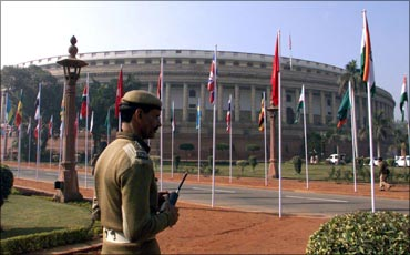 The Parliament building in New Delhi.
