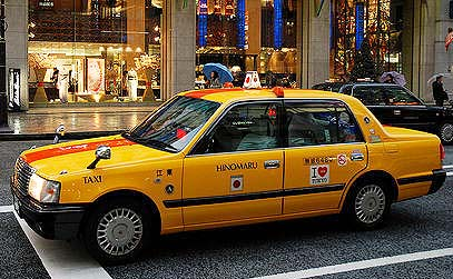 Taxis supplement the rail system in Tokyo.