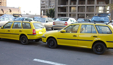 Taxis are cheap in Cairo.