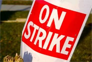 Air India pilots on strike.