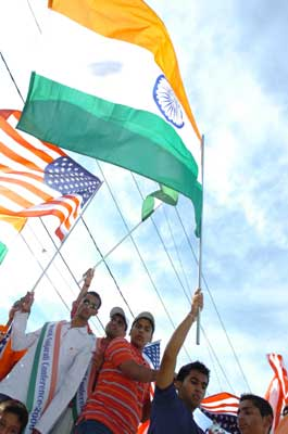 Indians particpate in an Independence Day rally in New York.