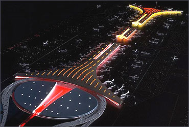 Beijing Capital International Airport at night.