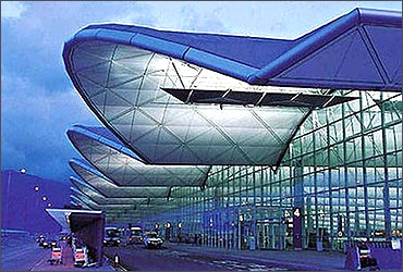 Exterior view of Hong Kong International Airport.