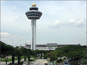 Iconic control tower of Singapore Changi Airport.