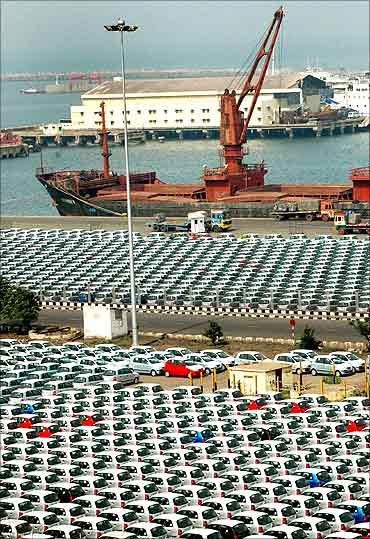 Hyundai cars are seen at a port ready for shipment in Chennai.