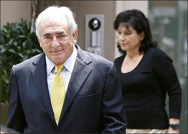 Former IMF chief Dominique Strauss-Kahn and his wife Anne Sinclair.