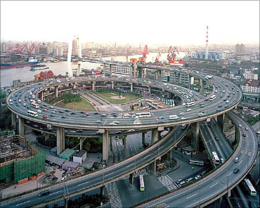 A view of Shanghai's road network.