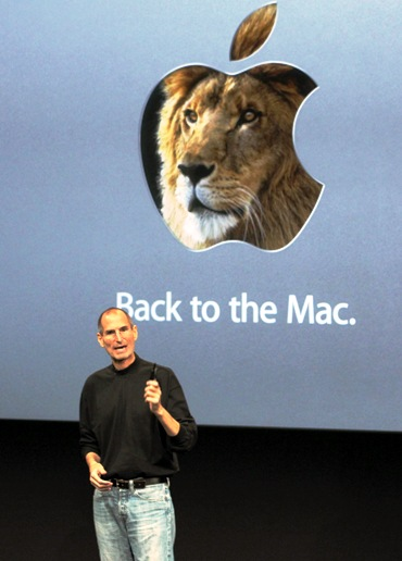 Former Apple CEO Steve Jobs unveils the latest Mac operating system software 'Lion'.