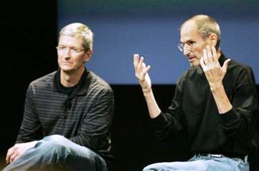 Tim Cook and Steve Jobs.