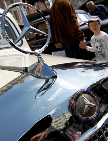 A 1936 Mercedes-Benz 170V is displayed during a tourism fair at the main square of Zagreb.