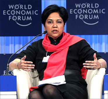 Chairman and chief executive officer PepsiCo Indra Nooyi attends a session at the World Economic Forum (WEF) in Davos.