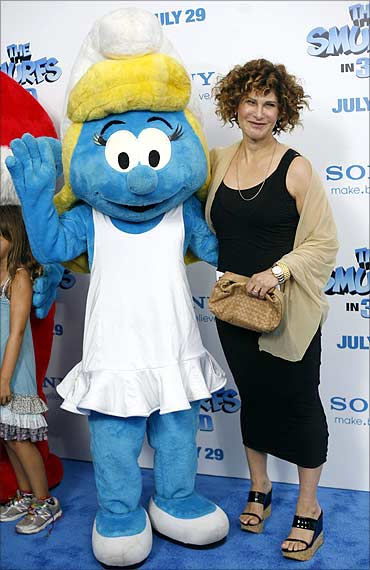 Amy Pascal, Sony Pictures co-chairperson, attends the premiere of The Smurfs in Ziegfeld Theater.