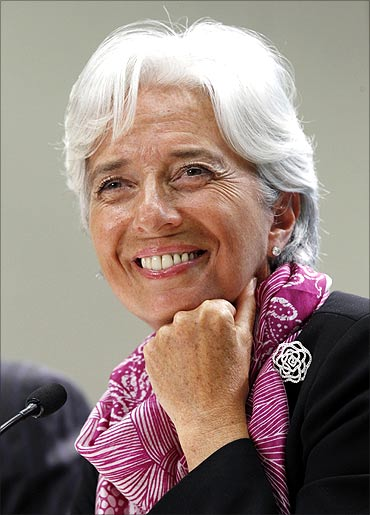 IMF MD Christine Lagarde holds a news briefing at the International Monetary Fund headquarters.