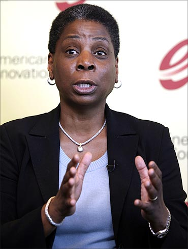 Xerox CEO Ursula Burns speaks at a news conference with fellow US executives in Washington.