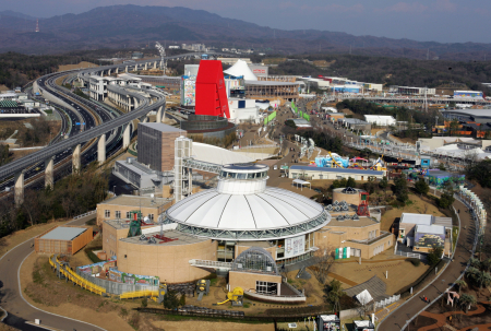 An aerial view of the 2005 World Exposition's Nagakute area in Nagoya.