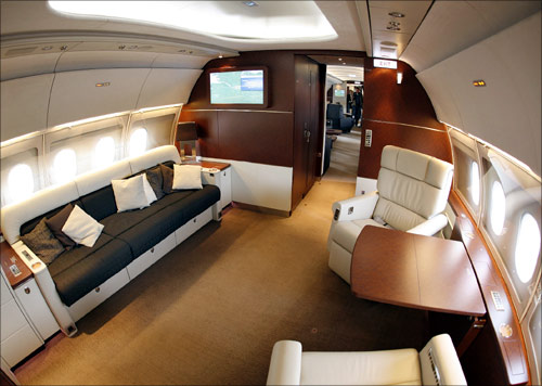 A part of the VIP cabin of a new Airbus A318 Elite.
