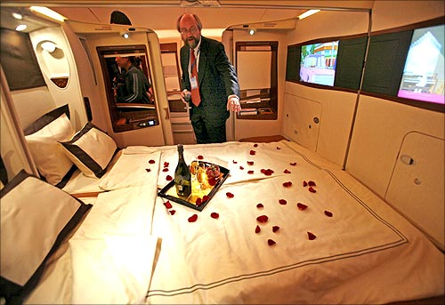 A double bed first class suite.