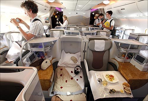 first class section on board an Airbus A380.