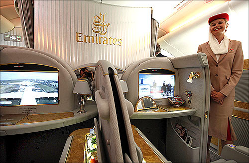 Interior in the first class section on board an Airbus A380 passenger plane of Emirates Airline.
