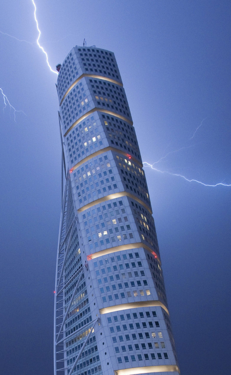 Lightning strikes the Turning Torso building in Malmo.