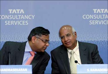 TCS CEO N Chandrasekhar with former TCS boss S Ramadorai (right).