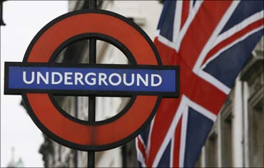 The Union Flag seen at a London Underground station signboard.