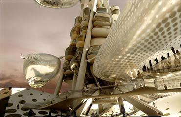 Eight helium-filled observation 'pods' will move up and down, each able to carry up to 80 people.