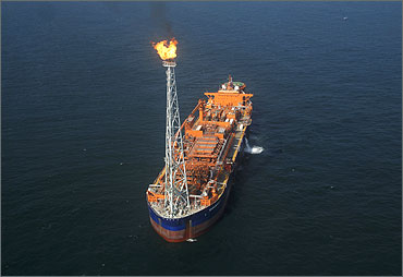 RIL's KG-D6's floating production storage and offloading vessel off the Bay of Bengal.