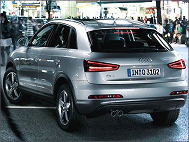 Side rear view of Audi Q3.